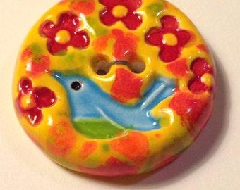 2 Ceramic Porcelain Bird Handmade Buttons