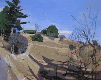 March Sun on Lost Dog Hill, Original Spring Landscape Painting on Panel, Stooshinoff