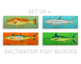 Set of 4 Saltwater Fish Art Blocks- Gifts for Boyfriend- Gifts- Fish Wall Decor- Fish Decor for Kids- Ocean Theme Bedroom- Fish Nursery