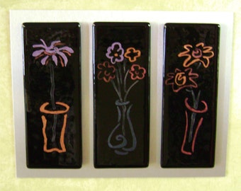 Glass Triptych on Metal with Stylized Flowers in Mica on Fused Glass