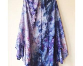 Hand Dyed Rayon Cloud Wrap in Night Sky , Anna Joyce, Portland, Oregon, Rayon Gauze