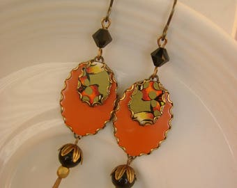 Patent Pending  - Vintage Recycled Hand Cut Tin Orange Patent Leather Earrings - Upcycled Repurposed Jewelry 10 Year Anniversary Gift