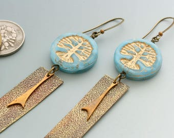 Tree of Life Earrings. Sky blue Czech glass beads paired with handmade and vintage charms.