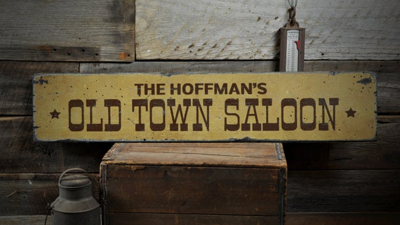 Old Town Saloon Wood Sign Personalized Family Name Home Bar