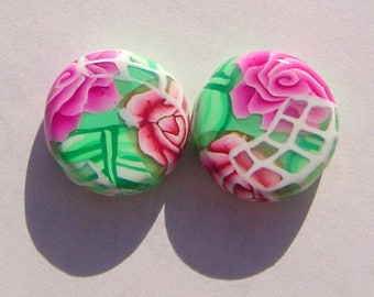 Pink Floral Coin Handmade Artisan Polymer Clay Bead Pair