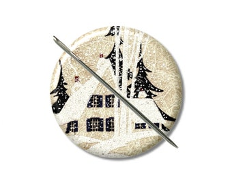 House in  woods Snow needle minder magnet cross stitching sewing tool sewing notion wife gift under 10 stocking stuffer vintage art