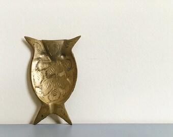 Vintage Sarna Brass Owl Ashtray