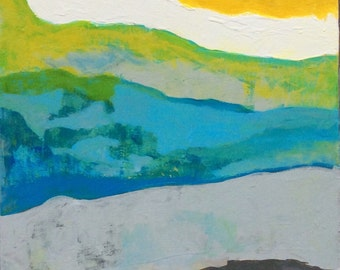 SALE: Over the Valley Abstract Painting Wall Decor Yellow Grey White Blue