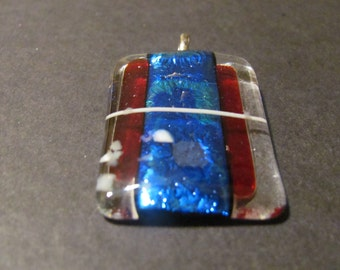 Fused Blue, Red and White Dichroic Glass Pendant