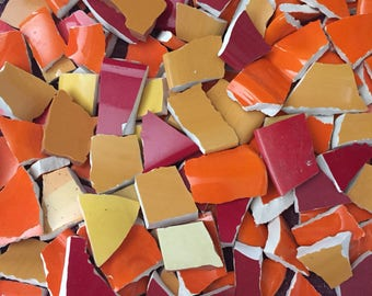 200 Solid Mix of Colors Fillers  Mosaic Tiles Broken Plate Pieces Art Tesserae 200 Red Yellow Orange Sunset Mix