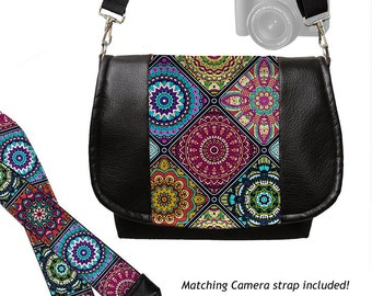 SET Vegan Black Leather DSLR Camera Bag & Camera Neck Strap Colorful Mandala Kaleidoscope Boho Bag, Bohemian fabric  zipper pocket  MTO