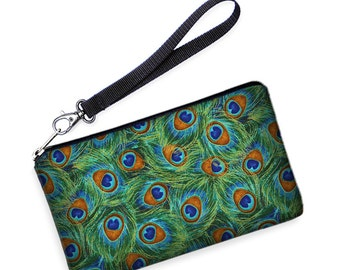 SALE iPhone s6 plus Case, Galaxy S7 Edge Purse, Xperia Z5 Bag, Lumia 640 Smartphone Wristlet removable strap green blue peacock feathers