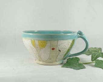 Pottery Soup Mug or Latte Cup, Oversized Mug,  ceramics and pottery, Ceramic Soup bowls with handles, Cappuccino cup 772