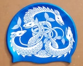 """Lovely eyecatching """"Sea Monsters"""" swimming hat / Sea Serpent swim cap. Printed on high-quality silicone in 8 colours. Open water swimming."""