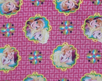 Disney Frozen Elsa Anna Framed PINK Cotton Fabric Springs Creative BTY 43/44 Free Ship USA