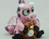 Baby Dragon With Teddy Bear Pink Purple Black Lampwork Focal Bead Sculptured Glass by Annette Nilan DITS