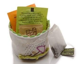 Small Linen Basket, Trinket Basket, Handmade Fabric Basket, Tea Lover Gift, Bird Watcher Gift, Bird Lover Gift, Tea Bag Storage, Tea Time