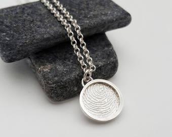 Sterling Silver Fingerprint Shadowbox Charm Bracelet