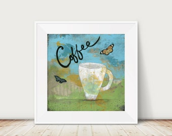 Coffee Sign- Modern Canvas Print For Your Kitchen Decor, Large Painting Print Available in a Variety of Sizes