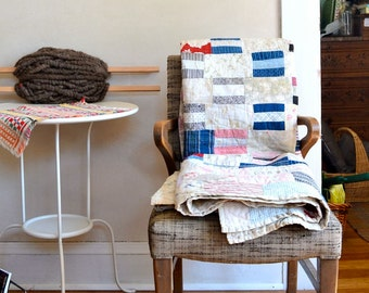 Vintage Patchwork Quilt Beautifully Aged Patina Simple Design w' Early Century Cotton Print Fabrics