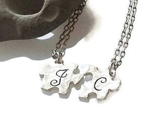 Couples Puzzle Piece Necklace Relationship set, unique puzzle piece jewelry, wedding gift idea, Meaningful Jewelry, Romanza Jewelry