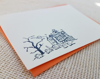 Letterpress Enclosure Card - Halloween Haunted House