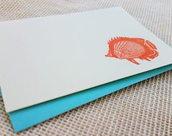 Letterpress Enclosure Card - Fish