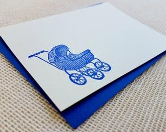 Letterpress Enclosure Card - Vintage Baby Buggie