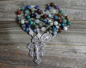 Mixed Gemstone Rosary with Silver Pardon Crucifix (Fair Trade Beads)
