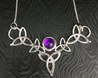 Celtic Amethyst Irish Boho Bridal Necklace in Sterling Silver with 16 Inch Box Chain, Celtic Irish Necklace with Amethyst Cabochon, Handmade