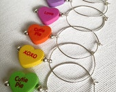 RESERVED-Valentines Day Conversation Heart Wine Glass Charms