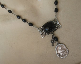 St Ann, rosary necklace, st anne, religious medal, Catholic jewelry, black, rosary beads, repurposed vintage, upcycled, one of a kind