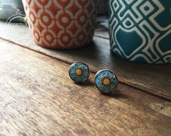 Mexican plate earrings, Colorful post earrings, Mexican jewelry, native stud earrings, Mexican pottery design, Folk art