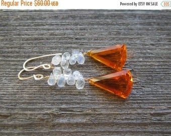 40% SALE Burnt Orange Quartz and Moonstone Earrings.  LUX Gemstone Earrings. Orange Quartz and Rainbow Moonstone Earrings. Gold Filled.  AAA