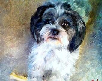 Shih Tzu Portrait I Custom Pet Portraits I Shih Tzu Painting I Dog Portraits by NC