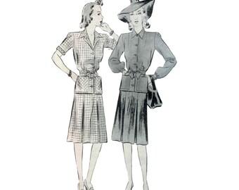 40s Skirt Suit pattern Tailored Jacket pattern vintage 36-30-39 Pleated Skirt pattern Noir butterick 1899
