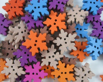 Snowflake Buttons, Lot of 50 - 2 Hole, 3/4 Inch Wooden Buttons in Assorted Colors