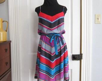 Vintage 70's Sun Dress Summer Size Medium Diagonal Stripe Colorful Red Purple Blue Black Sally Lou