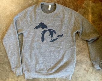 Great Lakes Michigan Crew Neck Sweatshirt (Sizes: XS,S,M,L,XL,2XL)