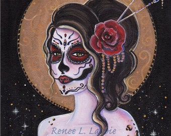 2.5 x 3.5 inches DAY OF THE Dead aceo  print Tattooed Belle muerte red roses  By Renee