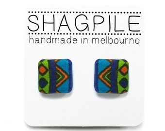 Tribal, Geometric Print in Blue, Green and Orange - Square Button Stud Earrings - Nickel Free, Surgical Steel Posts - Handmade in Melbourne