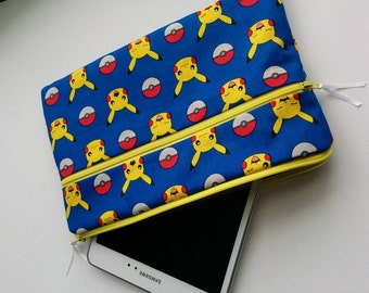 "Blue Pokemon Padded Tablet Case for up to an 8"" Tablet also eReader Case"