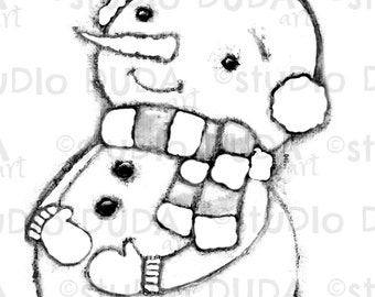 Snow Happy Snowman Digital Stamp - Printable - Art to Color by STUDIODUDAART