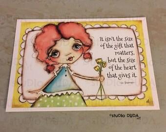 New!  STUDIO DUDA ART mini print/frameable greeting card on velvety bright paper -Fistful of Flowers - 5x7 print