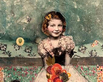 vintage girl sweet flowers crow  abstract series original large painting