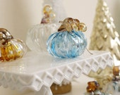 Hand-Blown Light Blue Pumpkin with Gold Stem