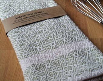 Olive Green Kitchen Towel Handwoven Sustainable Organic Cotton Linen