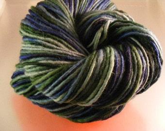SALE... Was 8.50... Now 6.00...BLUE SPRUCE...handspun, handpainted wool/mohair yarn...4oz...180yd