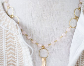 Pink Blush Bead and Paddle Necklace, Blush Bead pendant necklace, Paddle Necklace