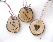 BIRCH BARK circle HEART or Snowman hanging FoReST ornament  Pyrography